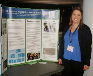 Student Kimberly Knobel with her poster presentation at the Nipissing Undergraduate Students 2015 Conference